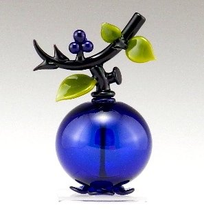 Blueberry Perfume - Art Glass Perfume Bottle - by Garrett Keisling