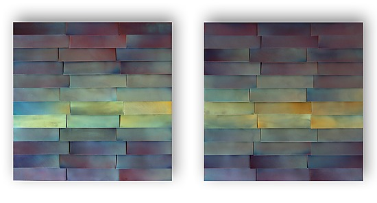 Zigzag Indigo Diptych - Metal Wall Art - by Anne Moran and Robert A. Brown