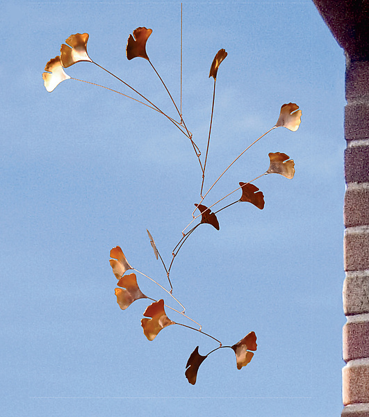 Ginkgo Mobile with 14 Copper Leaves - Metal Sculpture - by Jay Jones