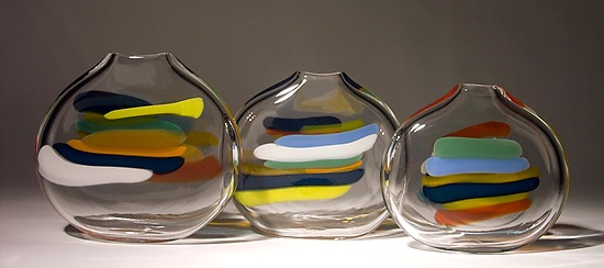 Stripes - Art Glass Vase - by Bengt Hokanson and Trefny Dix