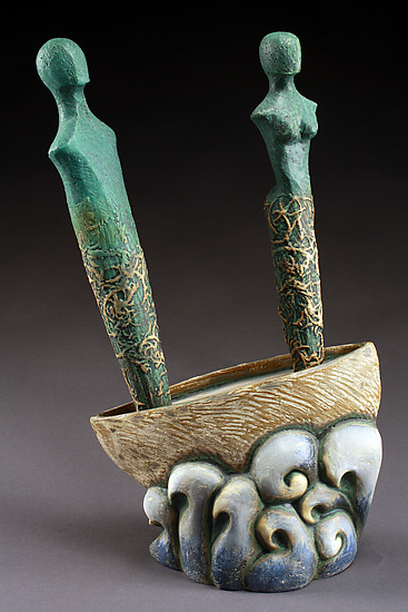 Travel with Love - Ceramic Sculpture - by Cathy Broski