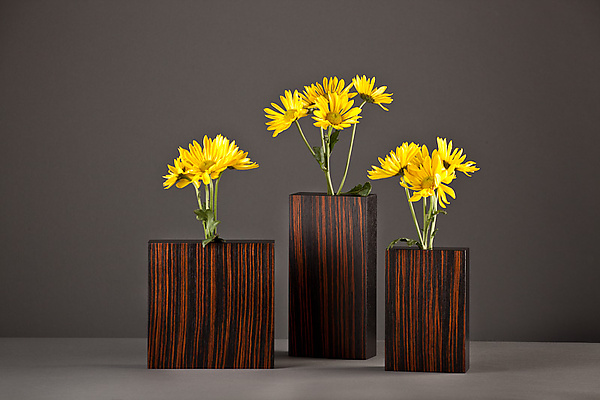 Macassar Ebony Bud Vases - Wood Vase - by David Kiernan