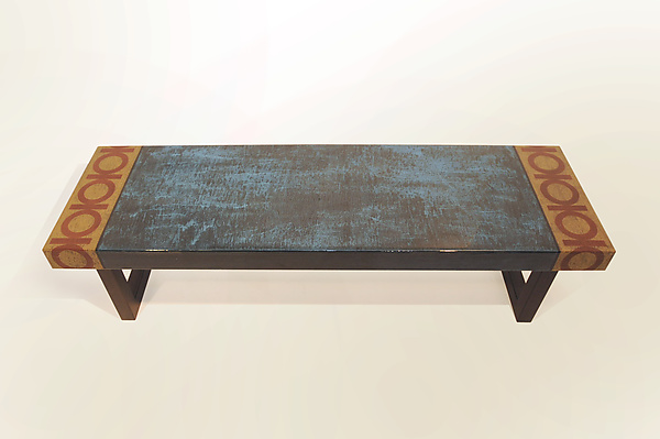 Cyan Stain Bench - Mixed Media Bench - by Lara Moore