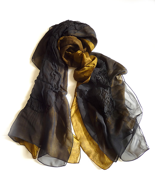 Black and Gold Silk Chiffon Truffle Scarf - Silk Scarf - by Yuh Okano