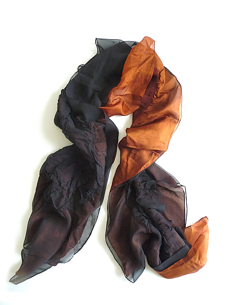 Black and Rust Silk Chiffon Truffle Scarf - Silk Scarf - by Yuh Okano