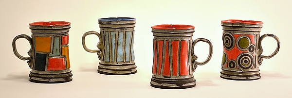 Patchwork, Circles, and Stripes Mug Set - Ceramic Mug - by Boyan Moskov