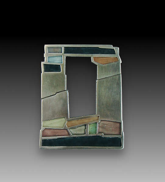 Old Stone Window Pin - Silver & Enamel Brooch - by Carly Wright