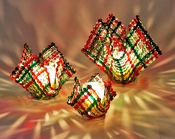 Christmas Confetti Glass Candleholder - Art Glass Candleholder - by Ed Edwards