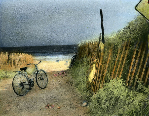 Day at the Beach - Infrared, Hand Painted Photograph - by Elizabeth Holmes
