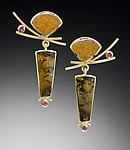 Gold & Stone Earrings by Ilene Schwartz