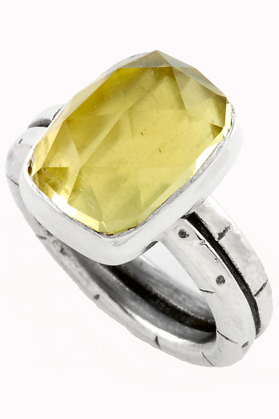 Lemon Quartz Double Stack Ring - Silver & Stone Ring - by Jodi Brownstein