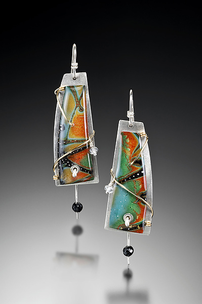 Magdalena Earrings - Silver & Polymer Clay Earrings - by Sue Savage