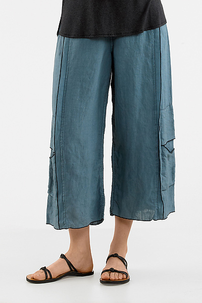 Double Stitched Cropped Linen Pant - Linen Pant - by Cynthia Ashby