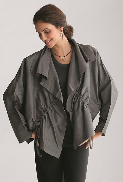 Dupioni Drawstring Jacket - Silk Jacket - by Planet Clothing