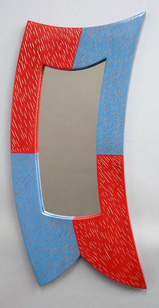 Small Red and Blue Curved Mirror - Wood Mirror - by Cosmo Barbaro