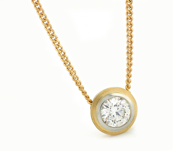 Simplicity Pendant in 18k with Diamond - Gold & Stone Necklace - by Catherine Iskiw
