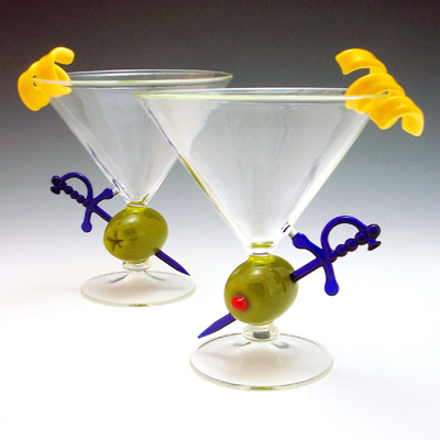 Olive Martini Cocktail Glass - Art Glass Stemware - by Garrett Keisling