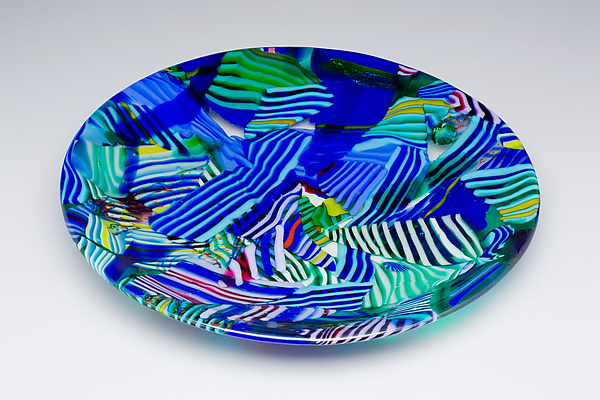 Random Acts of Color: Blue - Art Glass Bowl - by James Nevitt