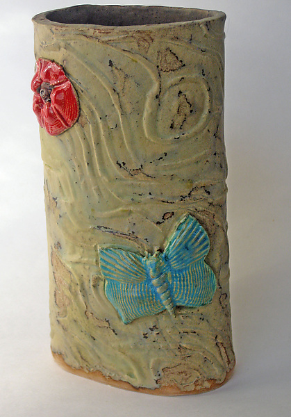 Blue Butterfly Vase - Ceramic Vase - by Amy Meya