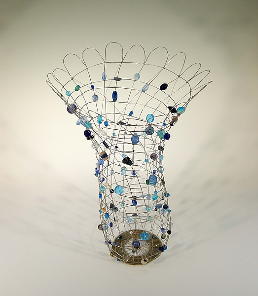 Song in Blues - Metal Basket - by Sally Prangley