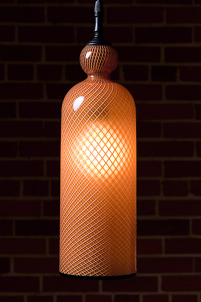 Gold Reticello Cylinder - Art Glass Pendant Lamp - by Kenny Pieper
