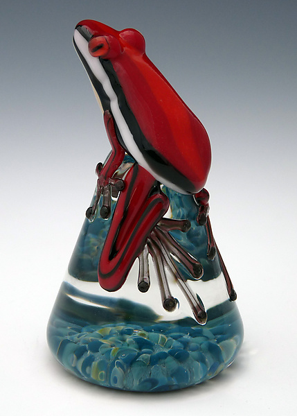 Red Racer Stripe Frog - Art Glass Paperweight - by Eric Bailey