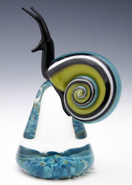 Blue and Green Racer Stripe Snail - Art Glass Paperweight - by Eric Bailey