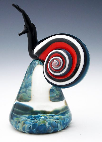 Red and Aqua Blue Racer Stripe Snail - Art Glass Paperweight - by Eric Bailey