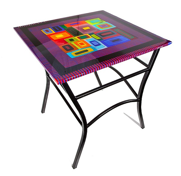 Side Table - Art Glass Side Table - by Helen Rudy