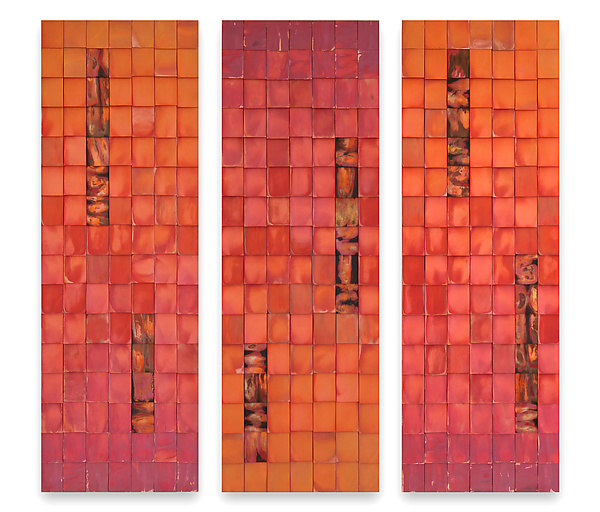 Vermillion Triptych - Metal Wall Art - by Anne Moran and Robert A. Brown