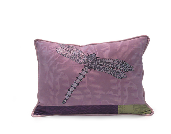Dragonfly on Rose - Silk Pillow - by Laura Goldstein
