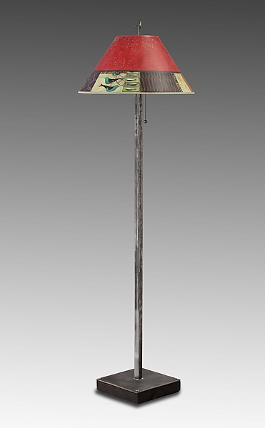 Match in Red - Mixed-Media Floor Lamp - by Janna Ugone and Justin Thomas