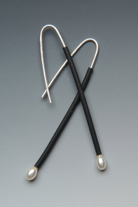 Now! - Silver & Rubber Earrings - by Lonna Keller