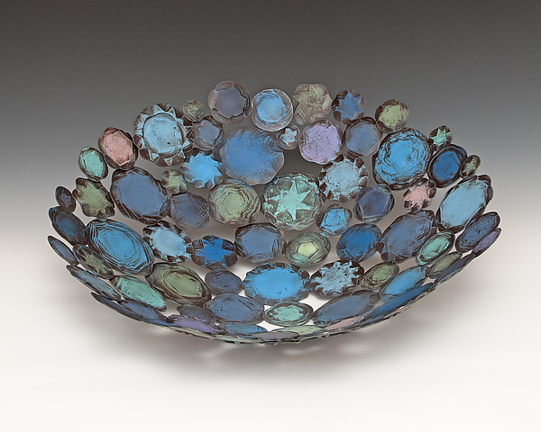Blue Splash - Metal Bowl - by Susan Madacsi