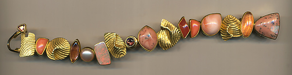 Pink Coral Fling Bracelet - Gold & Stone Bracelet - by Susan and Jeff Wise