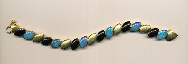 Art Deco Opal & Black Jade Bracelet - Gold & Stone Bracelet - by Susan and Jeff Wise