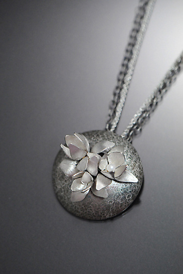 The Night Blossom Necklace - Silver & Pearl Necklace - by Sooyoung Kim
