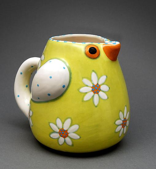 Chartreuse Bird Pitcher - Ceramic Pitcher - by Alison Palmer