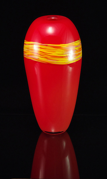 Lava & Sunshine Pyxis Sandstone - Art Glass Vase - by Corey Silverman and Horace Marlowe