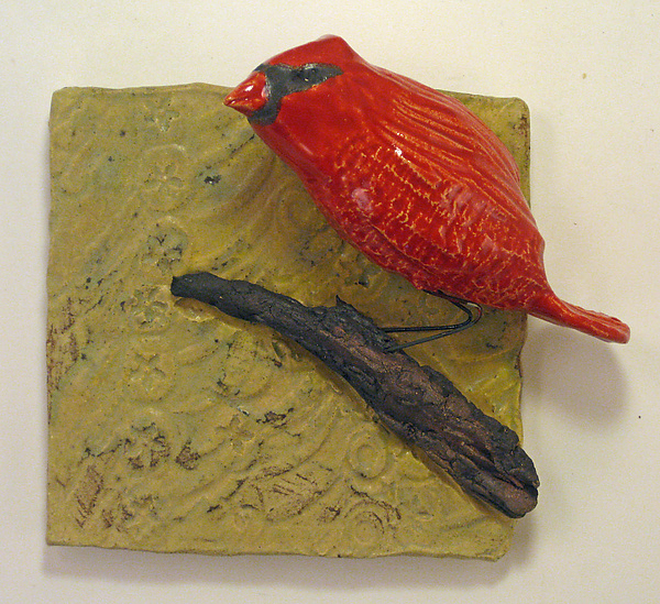 Cardinal - Ceramic Wall Art - by Amy Meya