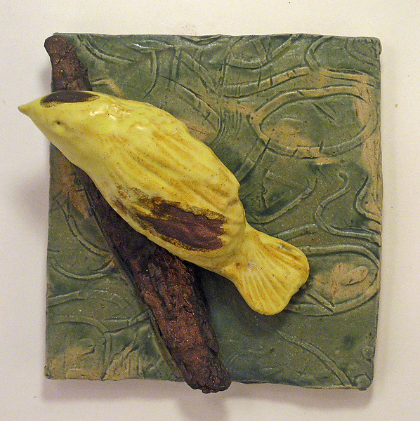 Golden Finch - Ceramic Wall Art - by Amy Meya