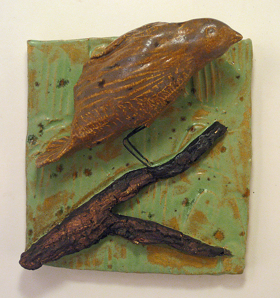 Brown Bird - Ceramic Wall Art - by Amy Meya