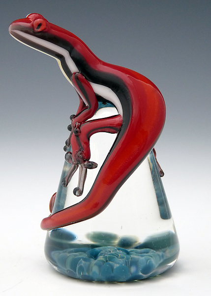 Red Racer Stripe Lizard Paperweight - Art Glass Paperweight - by Eric Bailey