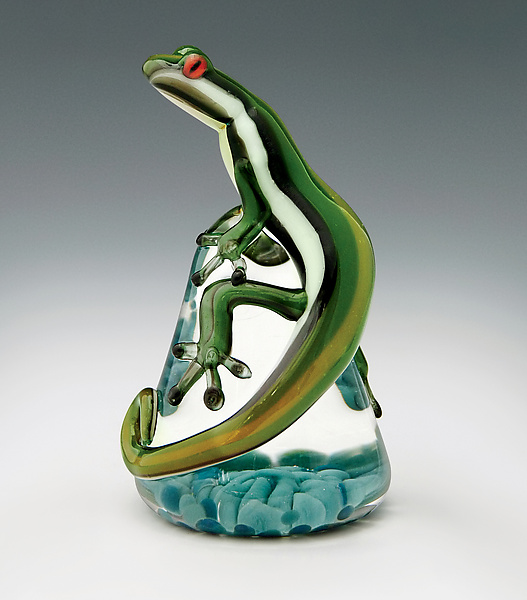 Green Racer Stripe Lizard Paperweight - Art Glass Paperweight - by Eric Bailey