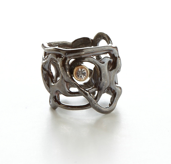 Oxidized Lace Ring with Stone - Silver & Stone Ring - by Ann Chikahisa