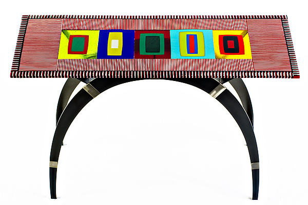 Arch Console Table - Art Glass Console Table - by Helen Rudy