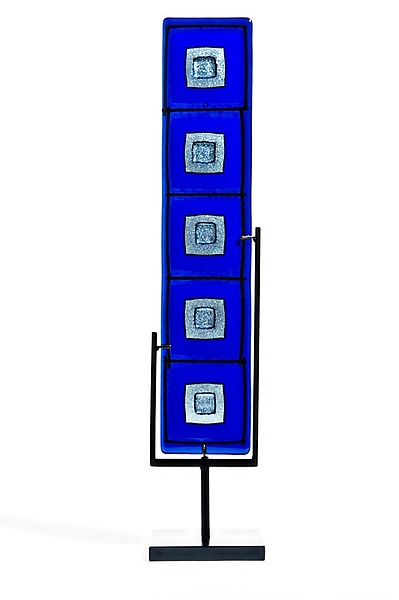 Cobalt Blue and Silver Totem - Art Glass Sculpture - by Helen Rudy