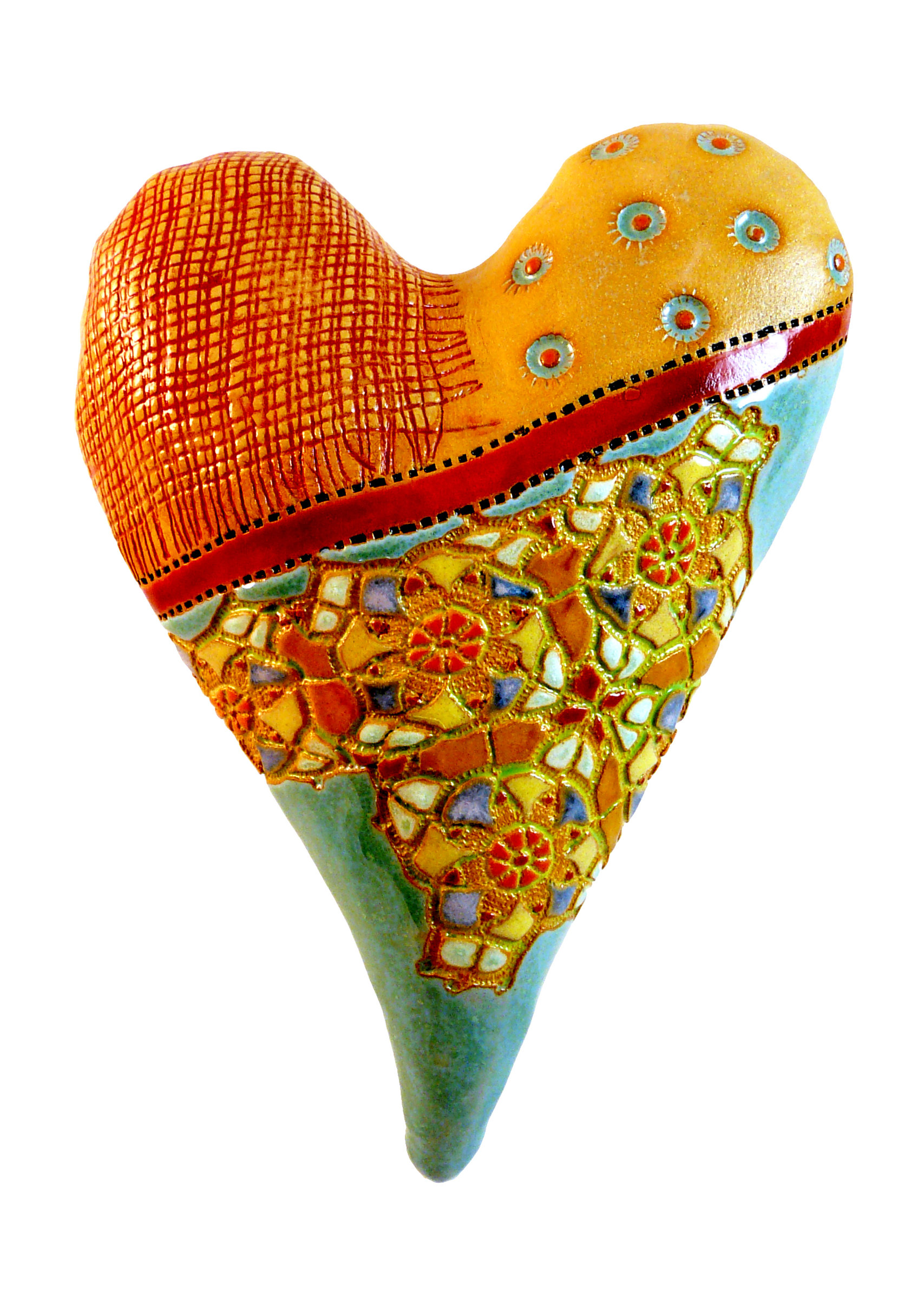 Red Ribbon Heart - Ceramic Wall Art - by Laurie Pollpeter Eskenazi