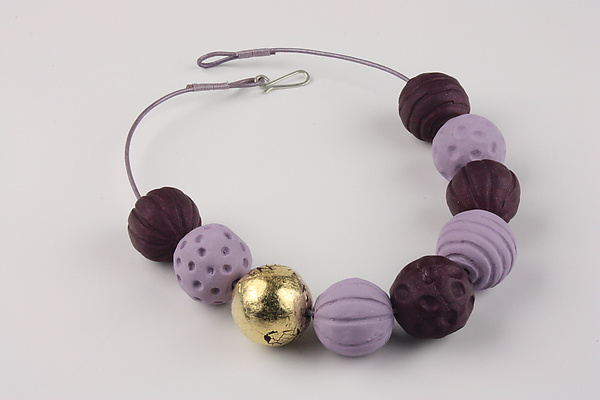 Gaya Purple-Lilac Necklace - Polymer Clay Necklace - by Klara Borbas