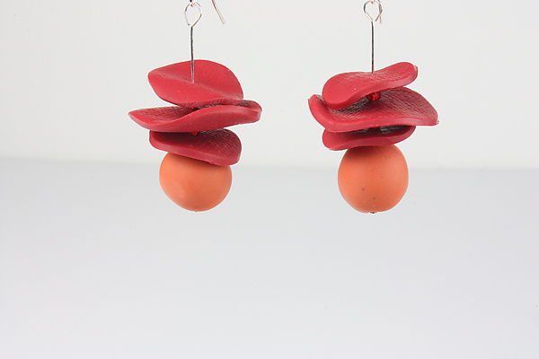 Gaya Red-Orange Earring - Polymer Clay Earrings - by Klara Borbas